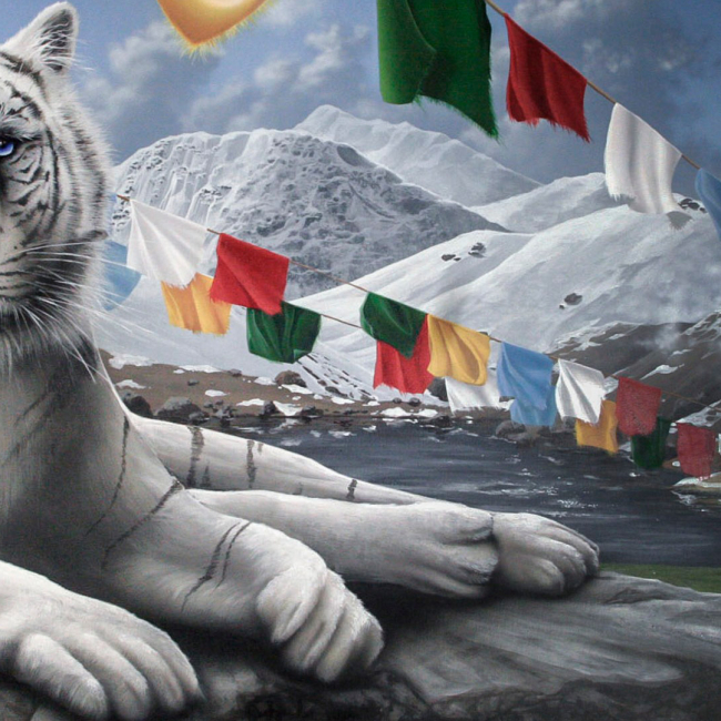 Bollywood Indian Wall Mural with Tiger and Elephant