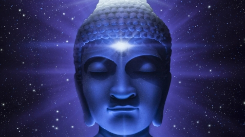 Buddha Day Light to Black Light Space Stars and Clouds