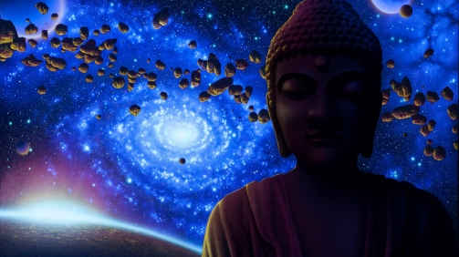 Buddha Space and Moon Black Light Art