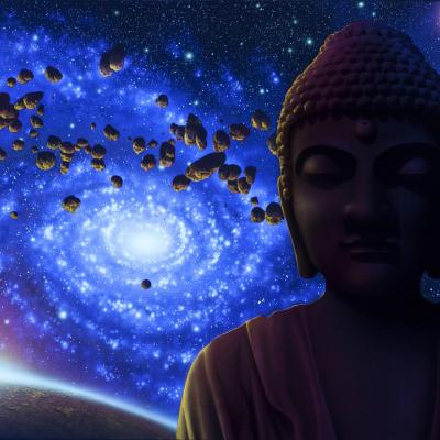 Interstellar Buddha - Black Light Art - Space and Moon