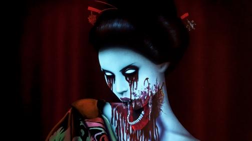 Geisha Day Light to Black Light Painting