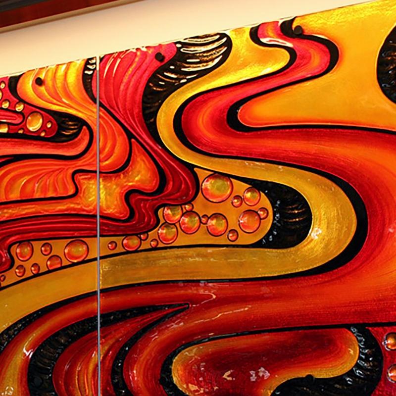 Honolulu Airport Glass Painted Mural