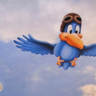 Kids Mural Baby Safari Blue Bird