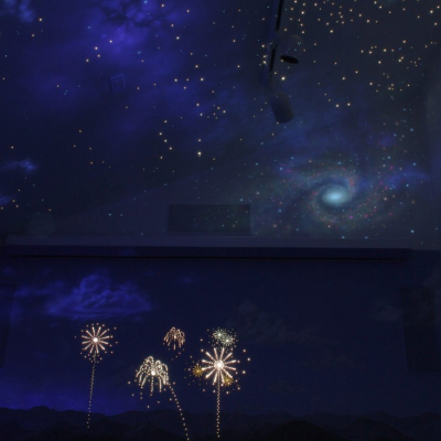 Space and Mountains Black Light Sky Mural