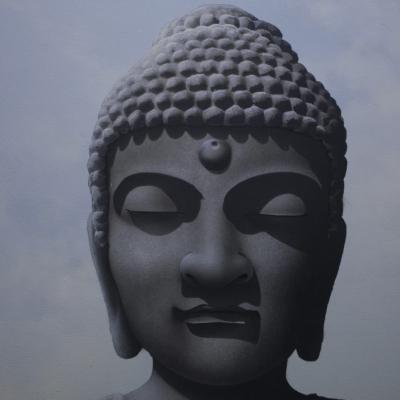 Interstellar Buddha - Space and Moon Black Light Art