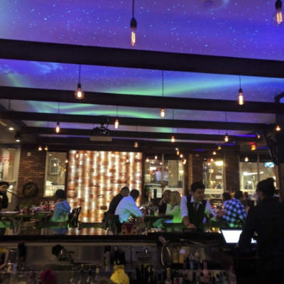 Jack's Steakhouse Day Light to Black Light Clouds and Skies Mural