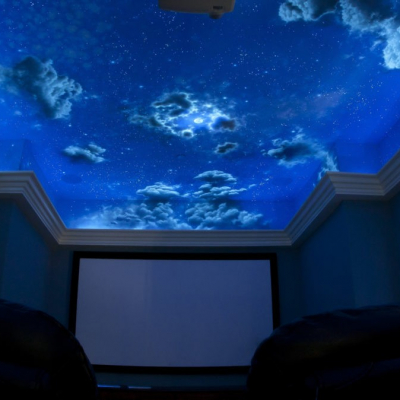 Home Theatre Day Light to Black Light Mural