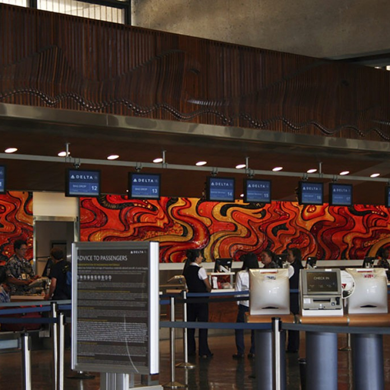 Honolulu Airport Painted Glass Mural Art