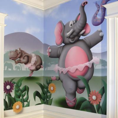 Kids Mural Baby Safari Mural Art