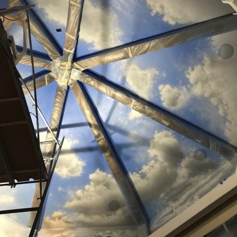 Moroccan Skies Media Room Day Light to Black Light Mural