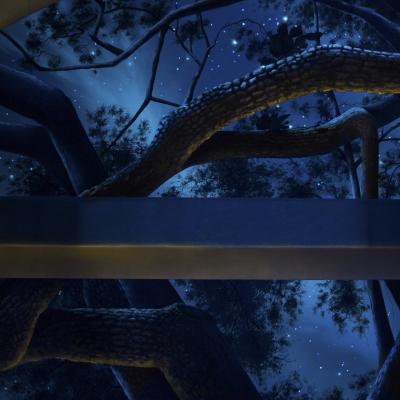 Tree and Sky Closeup Black Light - Mighty Oak Tree Black Light Mural
