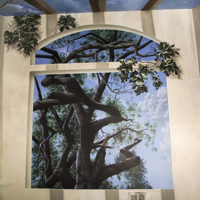 Tree and Sky Natural Light - Mighty Oak Tree Black Light Mural