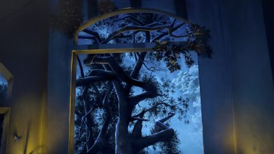 Tree and Sky Black Light - Mighty Oak Tree Black Light Mural