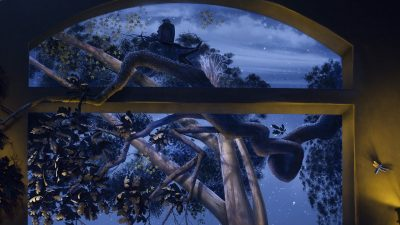 Eagle and Tree Black Light - Mighty Oak Tree Black Light Mural