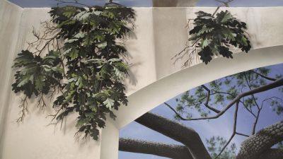 Wall Closeup Natural Light - Mighty Oak Tree Black Light Mural