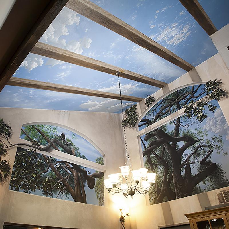 Natural Light - Mighty Oak Tree Black Light Mural