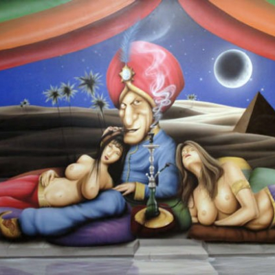 Playboy Mansion Midsummer Night's Dream Party Mural