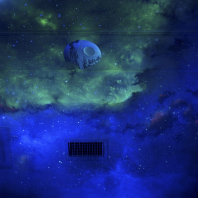 Outerspace Blue Sky Mural Day Light to Black Light