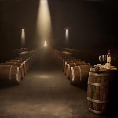 Wine Cellar Mural - Barrels