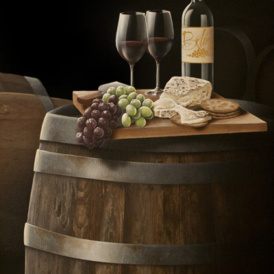 Wine Cellar Mural - Wine and Cheese