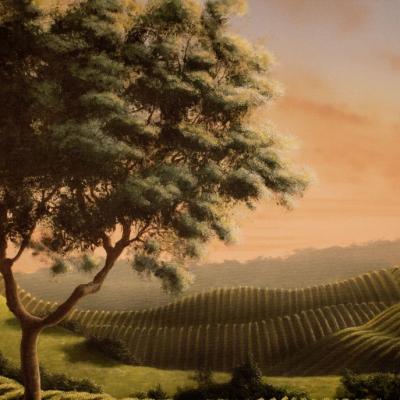 Wine Cellar Mural - Vineyards and Tree